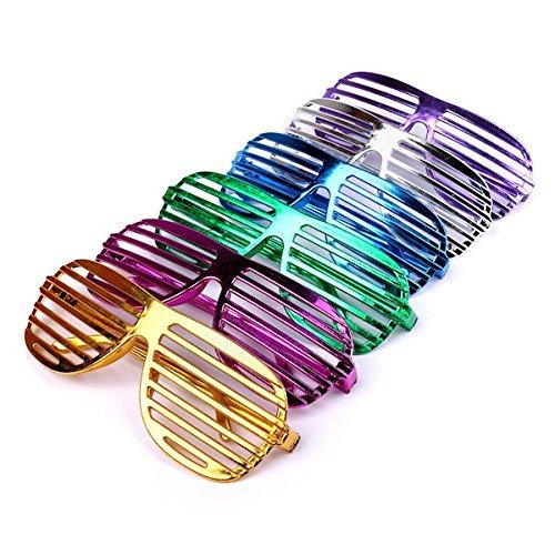 Schwarze Und Grüne Tanzkostüm - Schramm® 12 Stück Partybrille metallic 6 Farben Partybrillen Bunt Gitterbrille Spaß Spass Brille Atzen Brillen Party Brille 12er Pack