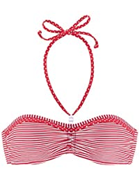 Venice Beach Damen Mix-Kini MILLA Bandeau Bikini Top rot gestreift
