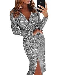 591374f17fb7ce FIYOTE Damen Abendkleider V-Collar Sexy Cocktailkleid Hochzeit Maxikleider  Glänzend Hoch Partykleider 4 Frabe S