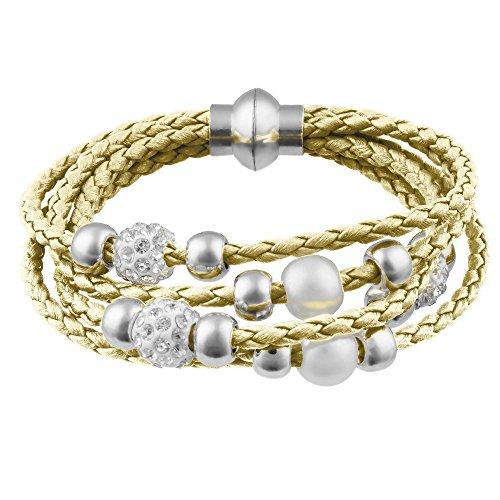 Mianova Damen Glück Armband Armreif geflochten mit Strass Kristall Steinen Shamballa und Perlen Kugeln Leder Leder Armband Armreif Gold