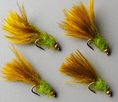 Trout Fishing Flies UK. Damsel Flies, Goldhead OLIVE / GREEN lures. Trout Fly Fishing Flies. Hook size 12 x 4 Flies by ARC fishing flies