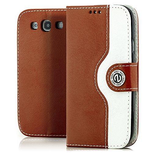Saxonia Custodia Apple iPhone 6 Plus / 6S Plus Flip Case Cover Copertura con Portafoglio Wallet Alta Qualità Marrone-Bianco Marrone-Bianco
