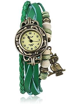 iLove EU Damen Armbanduhr Retro Niedliche Eule Leder Armkette Armband Analog Quarz Uhr Watches Grün