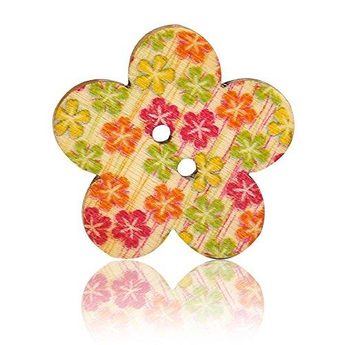 Botones - TOOGOO(R)50Pcs Botones coloridos de 2 agujeros de recuerdos de costura de madera (flor)