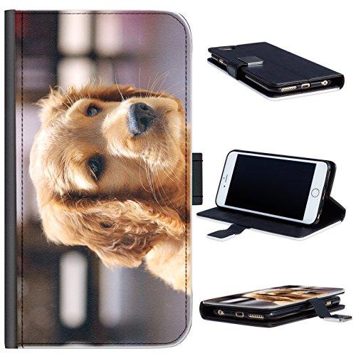 Hairyworm - BG0198 Golden Retriever Welpen Apple Iphone 5c Leder Klapphülle Etui Handy Tasche, Deckel mit Kartenfächern, Geldscheinfach und Magnetverschluss. I phone 5c Fall (Fall Welpe 5c Iphone)