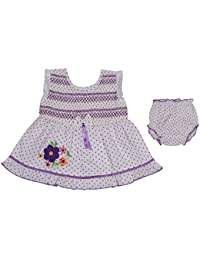 Ole Baby Chikankari Embroidered Organic Cotton Baby Girl Clothes Checks Lace Princess Short Sleeve Frock With Matching Bloomer 0-6 Months