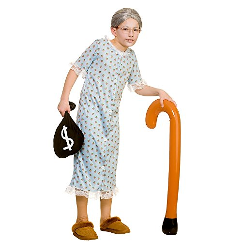 Little Old Granny Boys & Girls Children Fancy Dress Costume Night Dress-Medium 5-7 Years