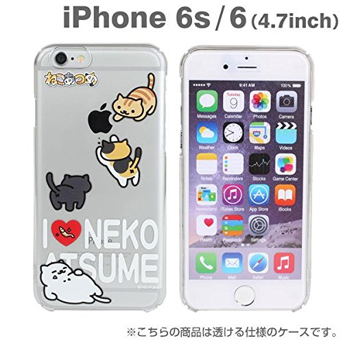 Gioco giapponese Neko Atsume Cat Kitty amanti Collezionisti Stampe trasparente Stampa copertura dura di caso per il iPhone 6s / 6 (Gatti Riuniti / gioco della palla) Love