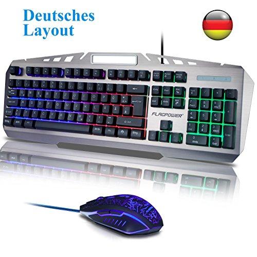 FLAGPOWER Gaming Tastatur und Maus Set, USB