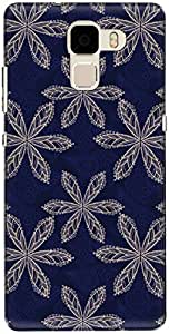The Racoon Lean printed designer hard back mobile phone case cover for Huawei Honor 7. (Blue Flora)