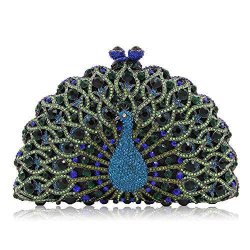 FFLLAS Damen Clutch Bag Abendtasche Pfau Typ Full Diamond Crystal High-End Luxus Prom Handtasche,3 -