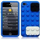 OnlineBestDigital - iPhone 4S / iPhone 4 Style brique Etui silicone / Couverture / Shell - Bleu avec Noir et Blanc
