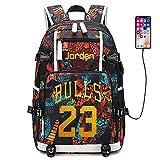 Joueur de Basket-Ball Star Michael Jordan Sac à Dos Multifonction Voyage étudiant Sac à Dos Fans Bookbag pour Hommes Femmes (Style 2)