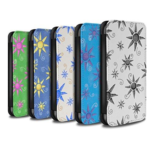 Stuff4 Coque/Etui/Housse Cuir PU Case/Cover pour Apple iPhone X/10 / Bleu/Violet Design / Motif Soleil Collection Pack (14 pcs)