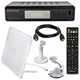 HB DIGITAL DVB-T/T2 SET: Opticum Terra HD 265 HEVC DVB-T/T2 Receiver + Globo Z2 Plus DVB-T/T2, FM, DAB Aktive Antenne (Full HD, HEVC/H.265, HDTV, HDMI, USB 2.0 DVBT DVBT2 DVB-T2)