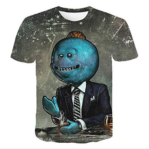 Herren Neuheit T-Shirt 2019 Sommer Casual Kurzarm 3D Digital Gedruckt T Shirt Tops Premium,Halloween-Druck - EIN blaues L