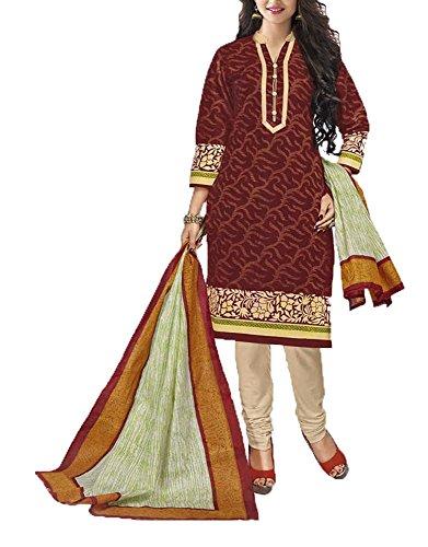 Saranya Sarees Women's Cotton Unstitched Dress Material (Maroon)