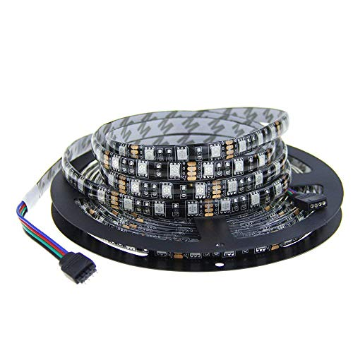 0 LEDs Black PCB 5050 SMD Color Changing RGB LED Flexible Strip ribbon Light DC 12V Not Waterproof for Home Garden Commercial Area and Festival Decoration Lighting ()