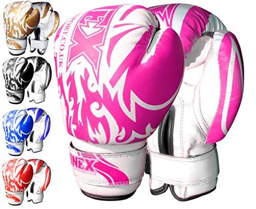 Onex 6 oz Guantes de Boxeo (Boxing Gloves), MMA, Muay Thai Junior Artes Marciales. (Pink)