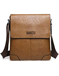 Hiigoo Shoulder Bags Casual Handbag Travel Pu Leather Bag Messenger Sling Bag (P-Khaki)