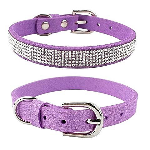 Berry Rhinestone Dog & Cat Collar - Purple Flocking Made with Sparkling Studded - 10-12.5