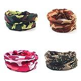 4 PCS Camouflage Multifunktionstuch Kopfbedeckungen Bandana Schal Elastische Halstücher für Yoga