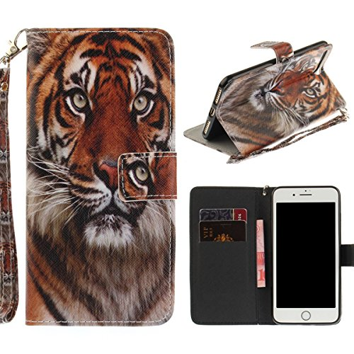 """MOONCASE iPhone 7 Plus Coque, [Colorful Painting] Anti-choc TPU Protection Housse Lanyard PU Cuir Portefeuille Case pour iPhone 7 Plus 5.5"""" Wind Chimes S-Tiger"""