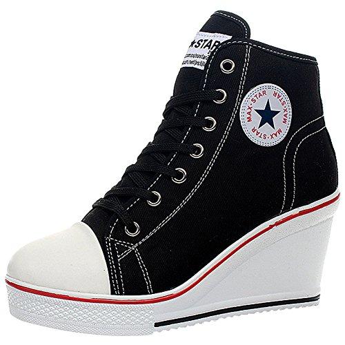 wealsex Sneaker Donna Zeppa Alte Donna Scarpe Lato Zip 8 CM Allacciate Donna Tela Scarpe da Moda Sneaker (Nero,39)