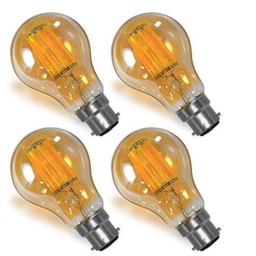 Standard A60 Lampe Ampoule Edison Globe a Filament LED E27 B22 8W Vintage Décorative Rétro Éclairage Remplace Ampoule Incandescente 60W (Rétro B22 Lot de 4)