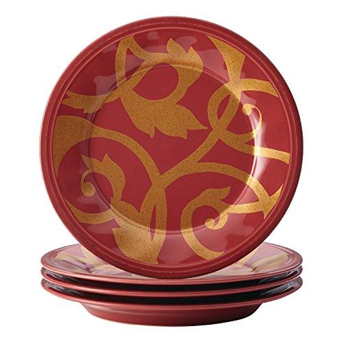 Rachael Ray Geschirr Gold Scroll Salatteller-Set Set Modern 4-piece Salad Plate Set Cranberry Red (Cranberry-geschirr-sets)
