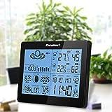 Excelvan Funkwetterstation wetterstation Funk Wecker Thermometer Hygrometer LCD Wetterstation mit Präzisionsvorhersage Temperatur Feuchtigkeit Sunrise/Sunset Zeit Barometer inkl. Außensensor - 2