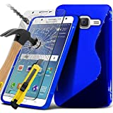( Blue ) Samsung Galaxy J5 2016 Specifically Designed S-Line Wave Design Gel Case Also Comes With LCD Tempered Glass Screen Protector Guard, Polishing Cloth & Retractable Stylus Pen Stylus Pen Exclusive To Spyrox