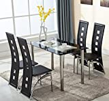 UEnjoy Glass Dining Table and 4 Chairs Faux Leather Dining Kitchen Furniture, Black