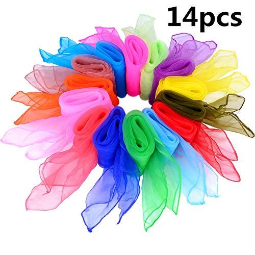 Tanz Tücher,Seidentücher Bunt 14 stück Mehrfarbige Quadratisch Tanzen Schal für Kindergarten Kindershow Bauchtanz 24 * 24inch 14 Farben (Schals Zu Binden Wie)