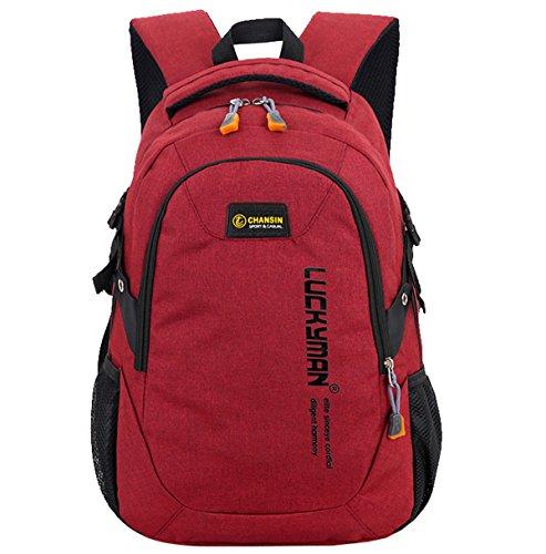 Super Modern Unisex-Schulrucksack aus Nylon, Laptoptasche für Teenager, ob Mädchen oder Jungen, cooler Sportrucksack, Reiserucksack für Männer und Frauen Größe L rot