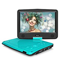NAVISKAUTO 10.1 Inch LED Portable CD DVD Player ,5 Hours Rechargeable Battery USB/SD AV Out Headrest Monitor ,with Car Mount Case (Teal)