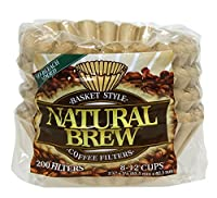 Brew Rite 8-12 Cup Coffee Filters, Natural Brown Paper 400count