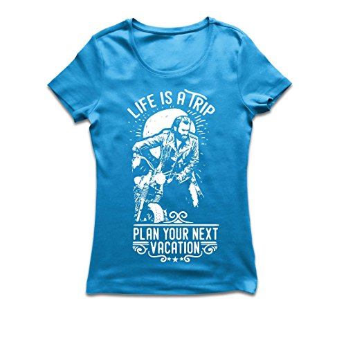 Frauen T-Shirt Das Leben ist eine Reise - Geschenkideen für Biker, Vintage-Bike-Grafik-Design, Motorräder zu lieben (Small Blau Mehrfarben)