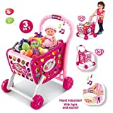 #10: GetBest Pretend Play Kids Shopping cart with Music and Lights