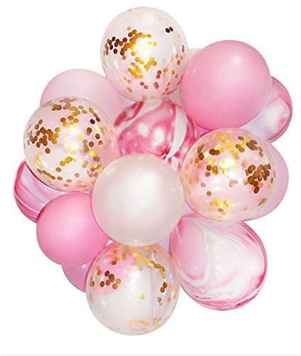 Rosa und Gold Party Dekoration Marmor Konfetti Ballon (verdickt 12