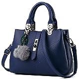 EssVita Frauen PU Leder Handtaschen Beuteltote Büro Lady Schultertaschen Handtasche für Damen Dunkelblau