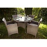 Leisuregrow Oxford 4 Seat Rattan Garden Furniture Set from Half Moon Weave