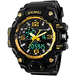 Gokelly Skmei Herren sk1155 a Multifunktional outdoor Sport Dual Time Analog Digital Armbanduhr (Gelb)