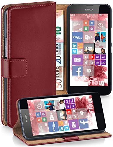 Cover OneFlow per Nokia Lumia 630 / 635 Custodia con scomparti documenti | Flip Case Astuccio Cover per cellulare apribile | Custodia cellulare Cover rotettiva Accessori Cellulare protezione Paraurti MAROON-RED