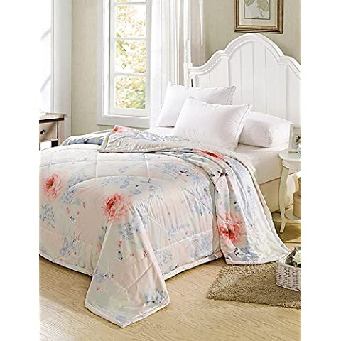 YangR*Tencel condizionamento estivo Quilt Quilt Stampa reattiva Estate Cool Quilt Set biancheria da letto ,