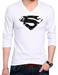 T Shirt - Full Sleeve V Neck Superhero Superman Logo Design Graphics Printed 100% Cotton T Shirt - Superhero Superman...