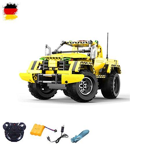 Steckbausatz DIY RC Ferngesteuerter 2in1 Truck Jeep aus Bausteinen zum Selber Bauen Basteln mit 2.4GHz Fernbedienung, Block Building ()
