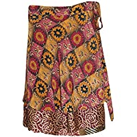 Mogul Interior Womens Magic Wrap Skirt Gypsy Printed Vintage Silk Sari Short Skirt One Size