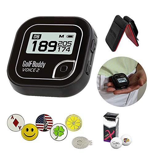 AMBA7 GolfBuddy Voice 2 Golf GPS-Entfernungsmesser-Set mit 1 magnetischem Hut-Clip und 5 Ballmarkern und Saint9un, 2 Ballmanschetten und Gürtelclip, Schwarz -