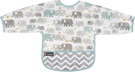 Kushies Cleanbib Waterproof Bib with Sleeves 6-12M White Elephants